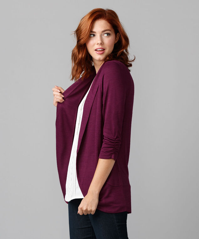 Shawl Collar Cover-Up, Black Cherry, hi-res