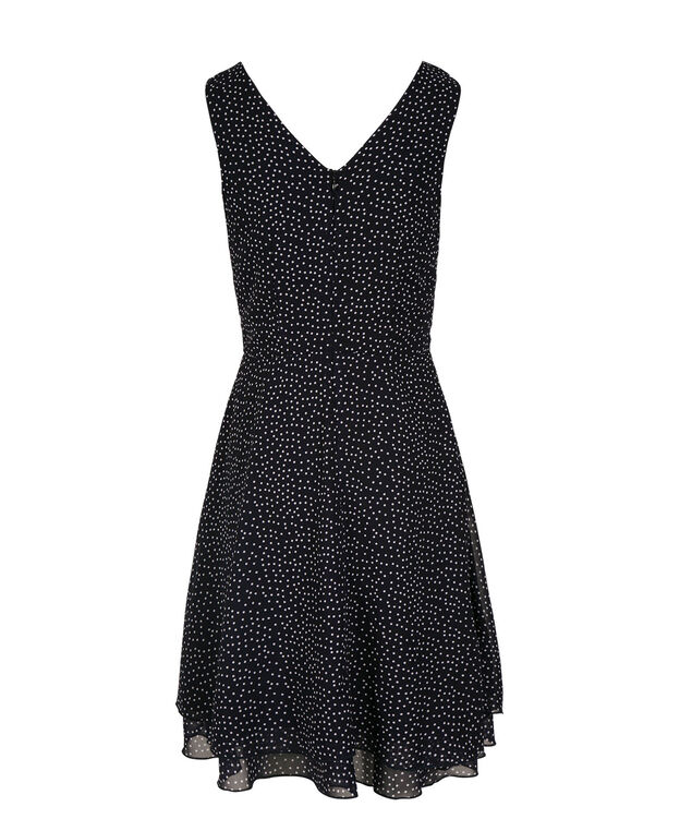 Double V Polka Dot Dress, Navy/White, hi-res