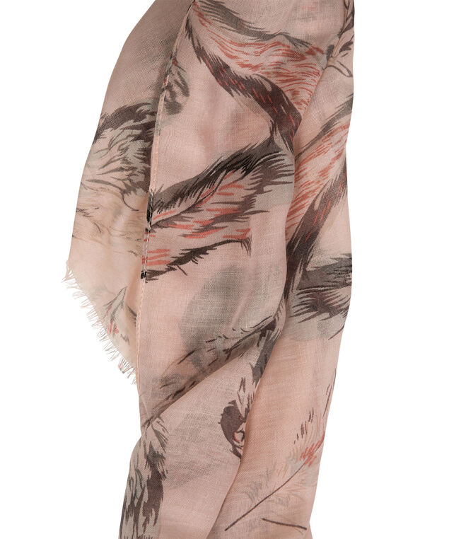 Oversized Feather Print Scarf, Peach/Grey/Black, hi-res