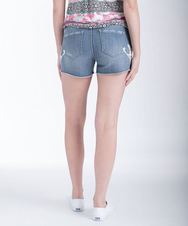 Embroidered Light Wash Denim Short, Light Wash, hi-res