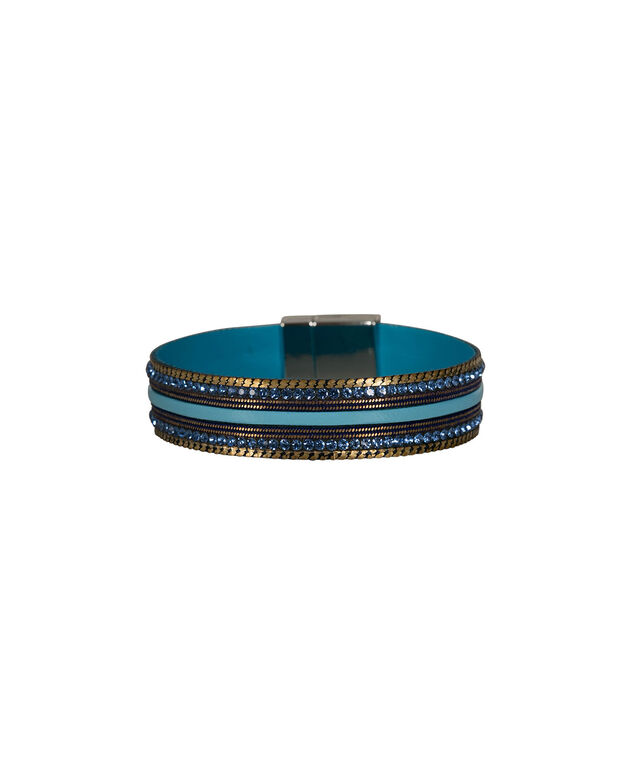 Blue Crystal & Chain Faux Leather Bracelet, Blue/Rhodium, hi-res