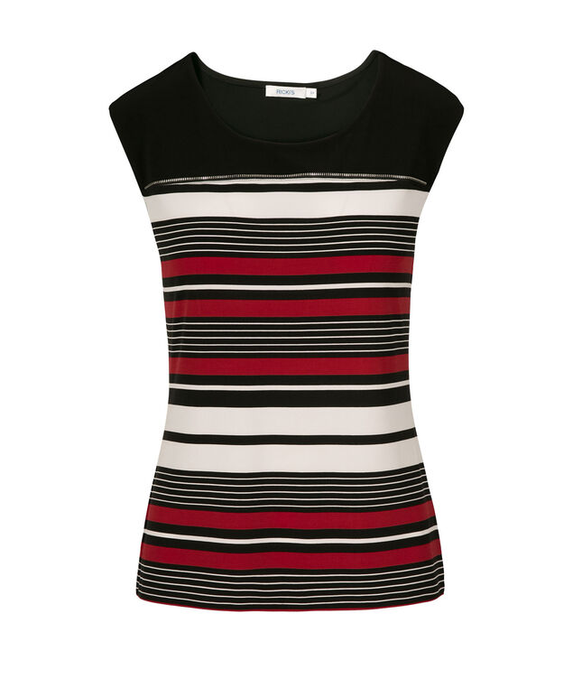 Extend Tee Colour Black Stripe Tee, Red Pattern, hi-res