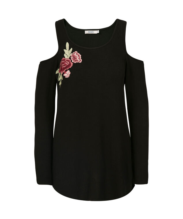 Embroidered Cold Shoulder Tunic Top, Black, hi-res
