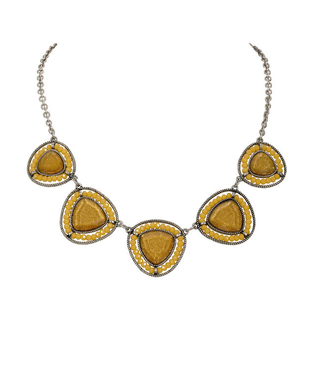 Glitter Stone & Bead Statement Necklace, Marigold/Burnished Silver, hi-res