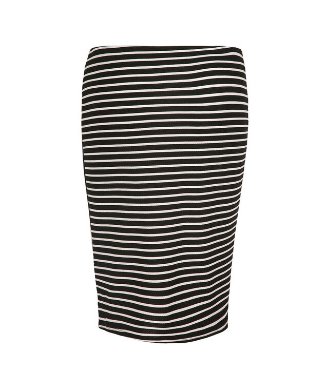 Spliced Stripe Skirt, Black/White Print, hi-res