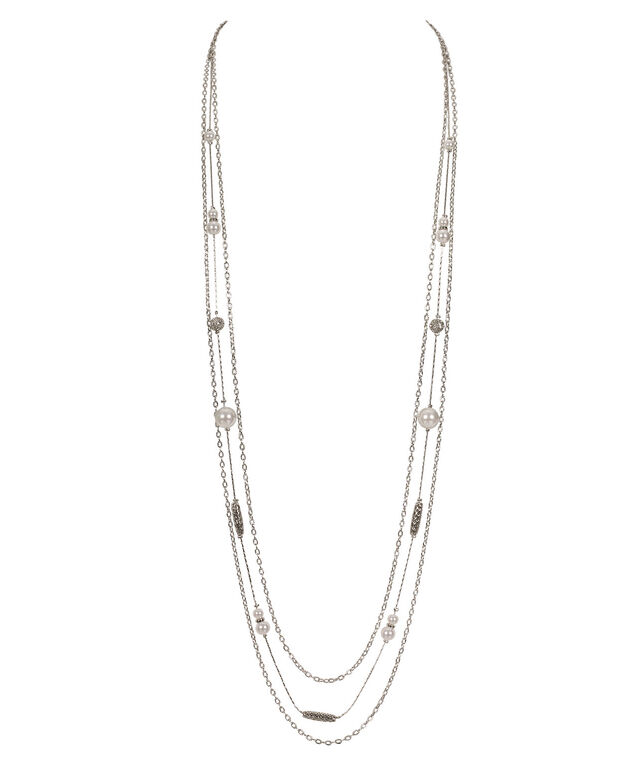 Pearl FireBall & Metal Cage Necklace, White Rhodium, hi-res