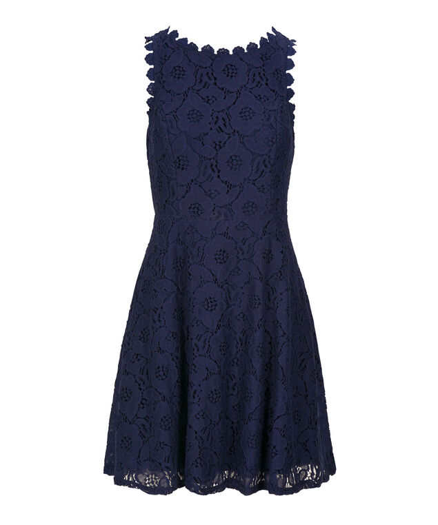 Lace Overlay Scoop Neck Dress, Summer Navy, hi-res