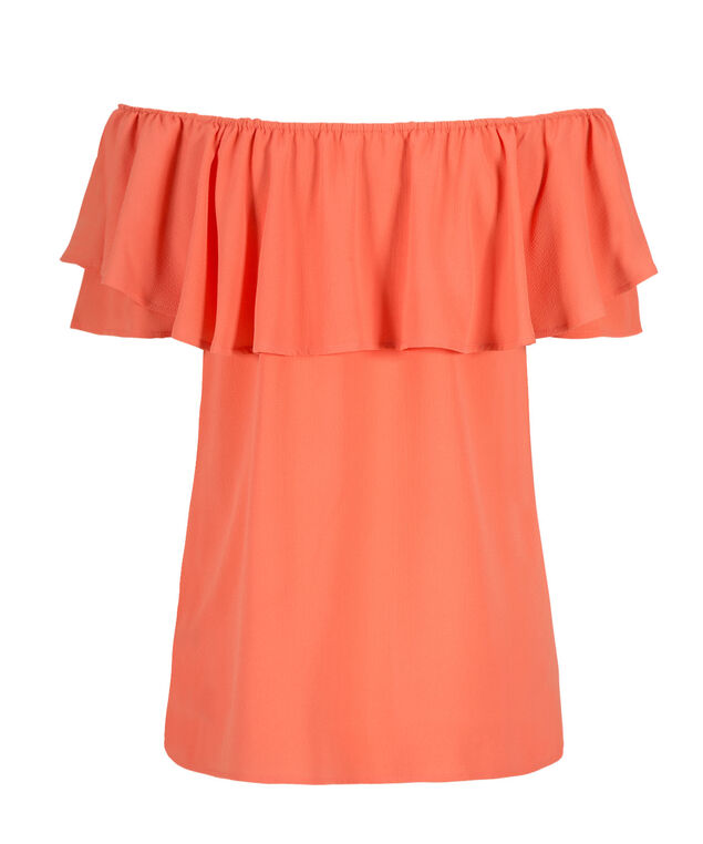 Off The Shoulder Ruffle, Coral Shine, hi-res