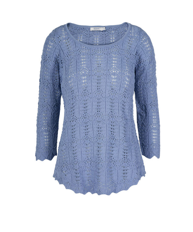 Pointelle Pullover Sweater, Chambray, hi-res