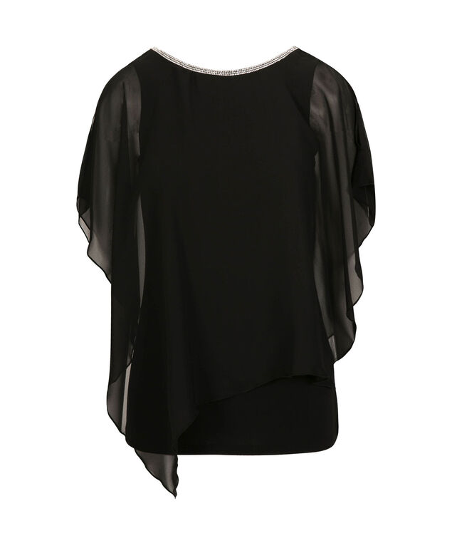 Jewel Trim Cape Overlay Top, Black, hi-res