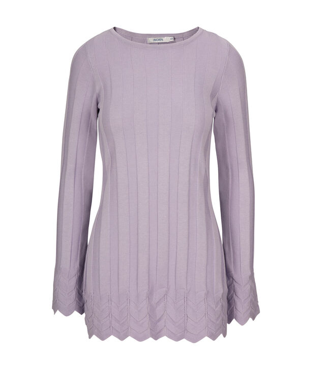 Mid Pointelle Pullover, Iced Violet, hi-res