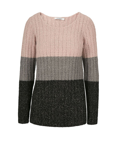 Plush Color Block Pullover, Blush/Grey/Black, hi-res