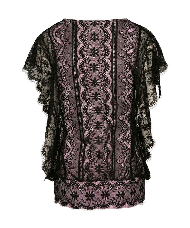 Dolman Sleeve Lace Top, Black/Iced Violet, hi-res