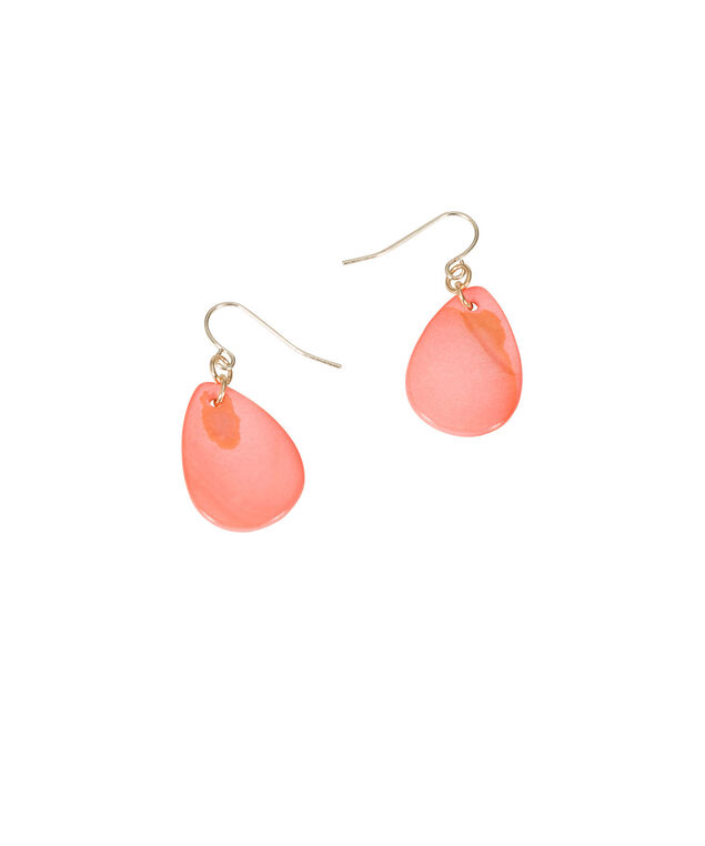 Tear-Shaped Drop Earrings, Coral/Soft Gold, hi-res