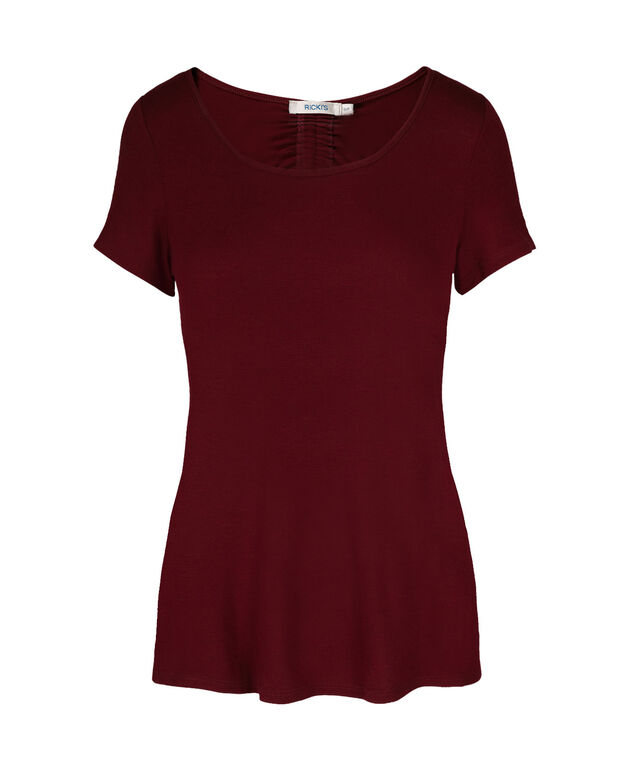 Cut-out Back Tee, Cranberry, hi-res