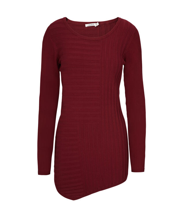 Mid Length Ribbed Pullover, Cranberry, hi-res
