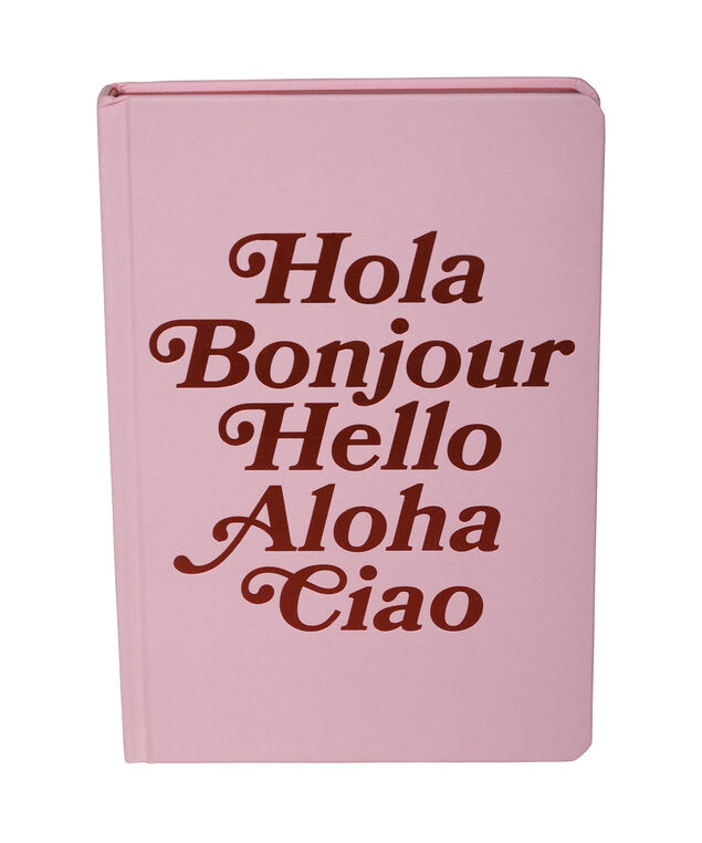"""Hola! Hello!"" Bound Journal, Pink/Red, hi-res"