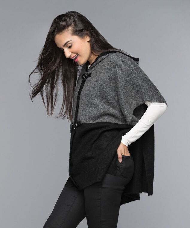 Hooded Sweater Poncho, Black/Charcoal, hi-res