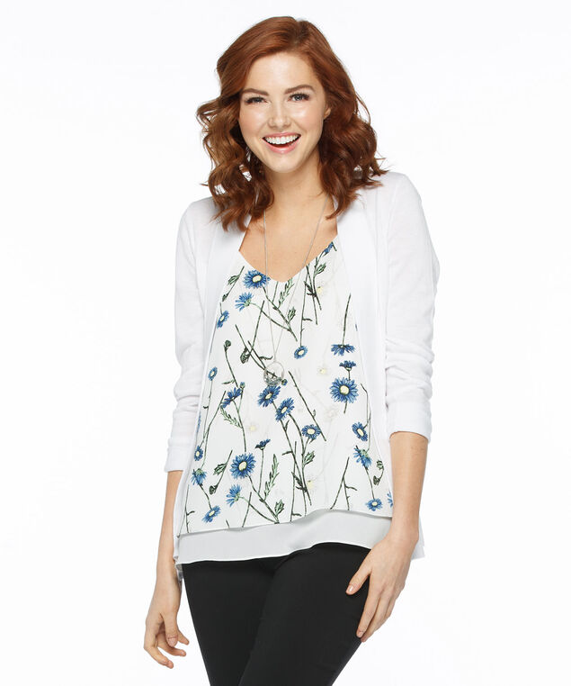 Strappy Double Layer Tank Blouse, White/Blue Floral Print, hi-res