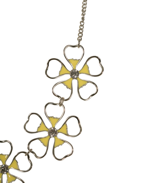 Flower Cut-Out Statement Necklace, Yellow/Rhodium, hi-res