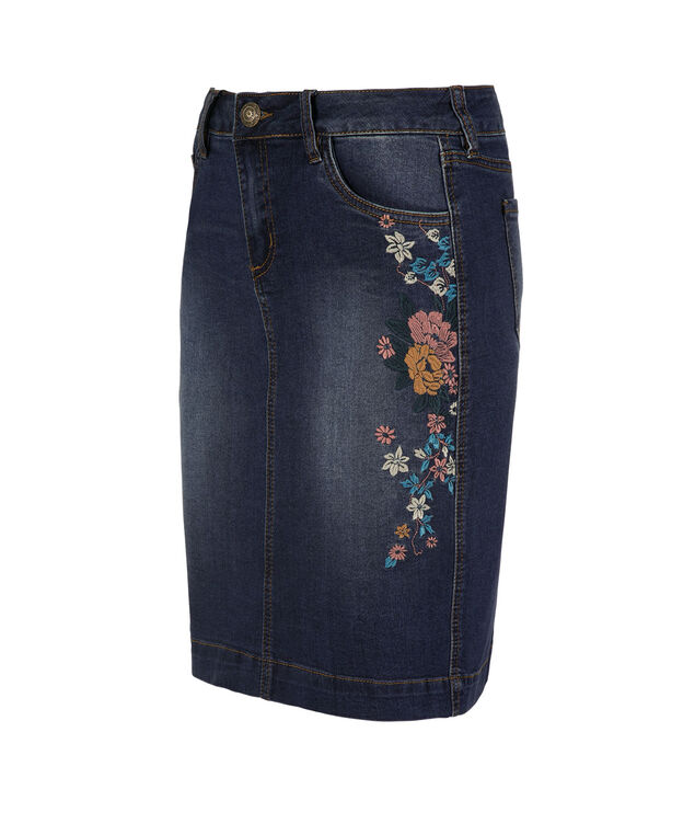 Embroidered Denim Skirt, Dark Rinse, hi-res