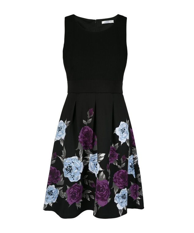 Pique Top Floral Skirt Dress, Black Print, hi-res