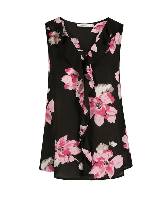 Ruffle Front Sleeveless Blouse, Floral Print, hi-res