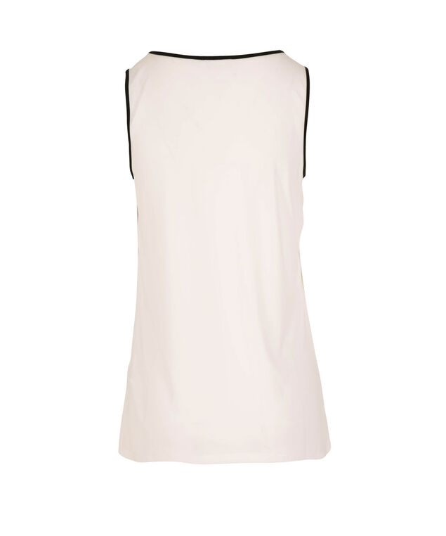 Sleeveless Pleated Keyhole Top, True White, hi-res