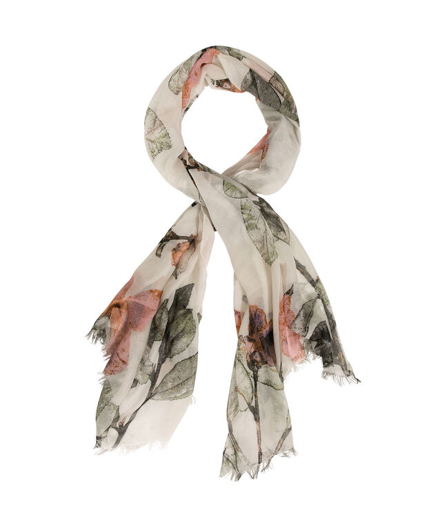 Oversized Floral Print Scarf, Soft Peach/Olive/Grey, hi-res