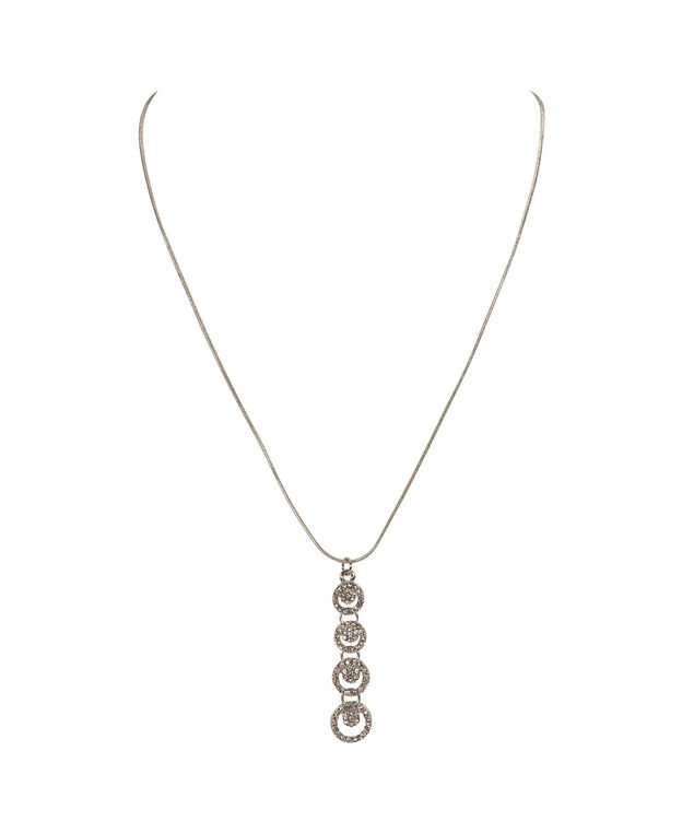 Linear Pave Circle Pendant Necklace, Clear/Rhodium, hi-res