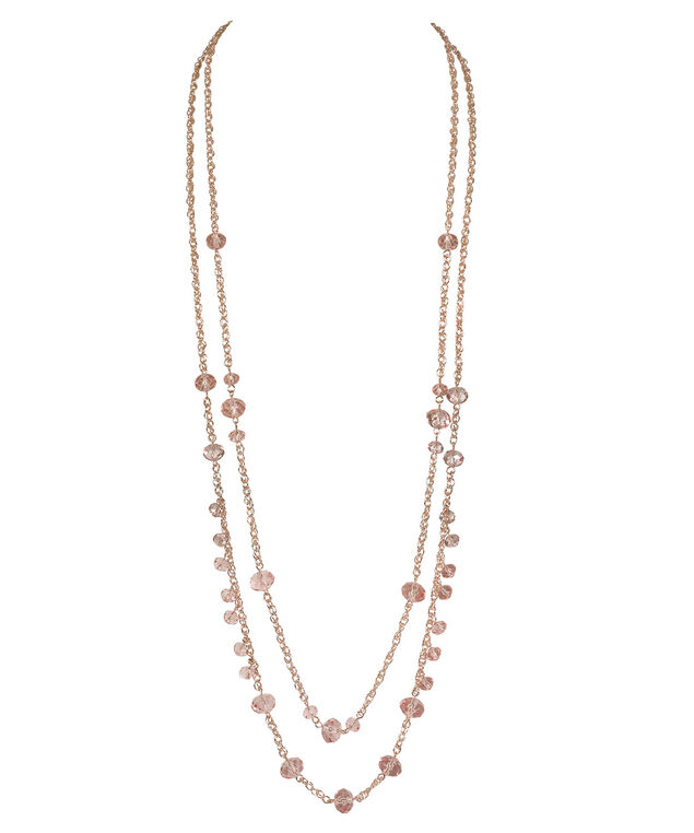 Faceted Stone Double Strand Necklace, Blush/Rose Gold, hi-res