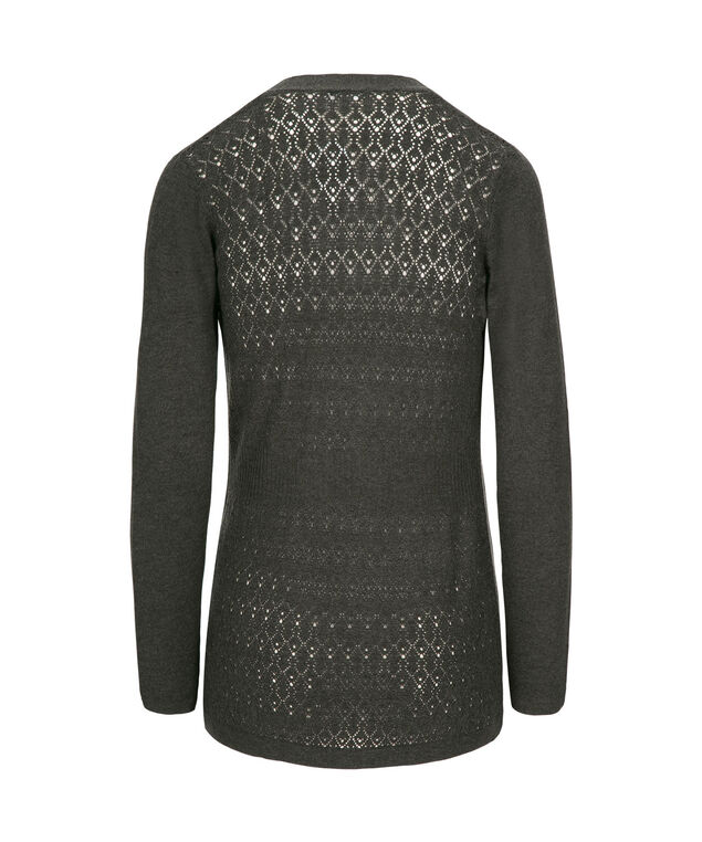 Pointelle Back Open Cardigan, Charcoal, hi-res