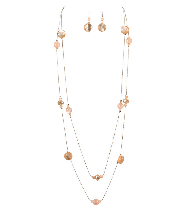 Double-Strand Stationed Bead & Faceted Stone Necklace Set, Coral/Burnished Silver, hi-res