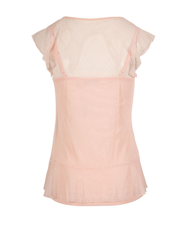 Tank with Mesh Peplum Overlay, Soft Peach, hi-res