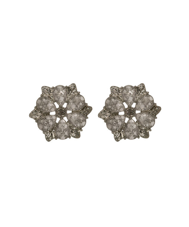 Floral Post Earring, Clear/Rhodium, hi-res