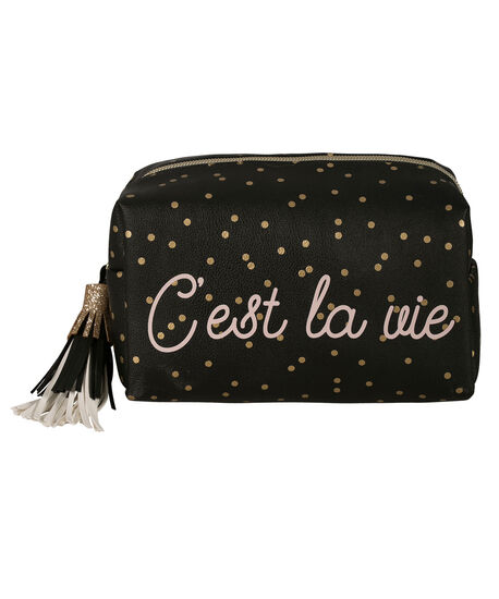 C'EST LA VIE COSMETIC CASE, Black/Pink, hi-res
