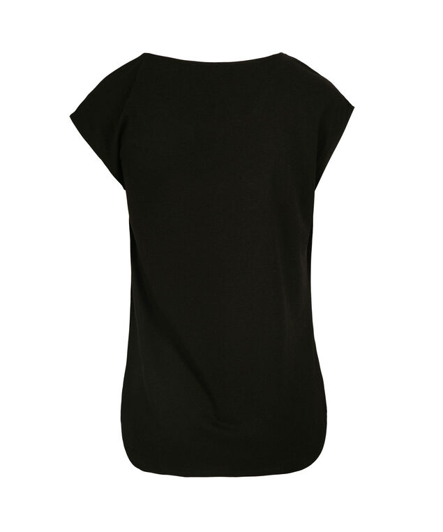 Extended Sleeve Twist Front Top, Black, hi-res