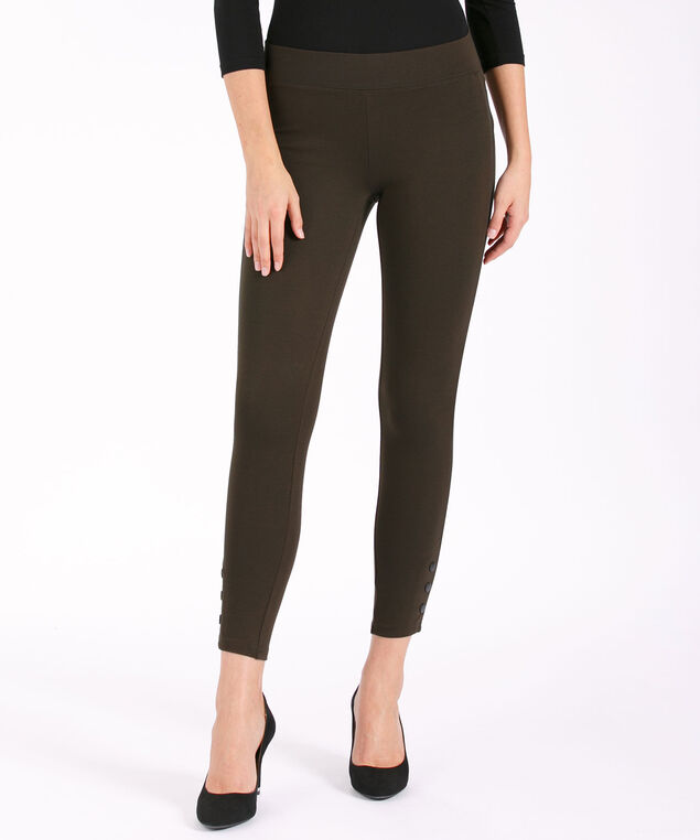 Luxe Ponte Button Bottom Legging, Olive, hi-res