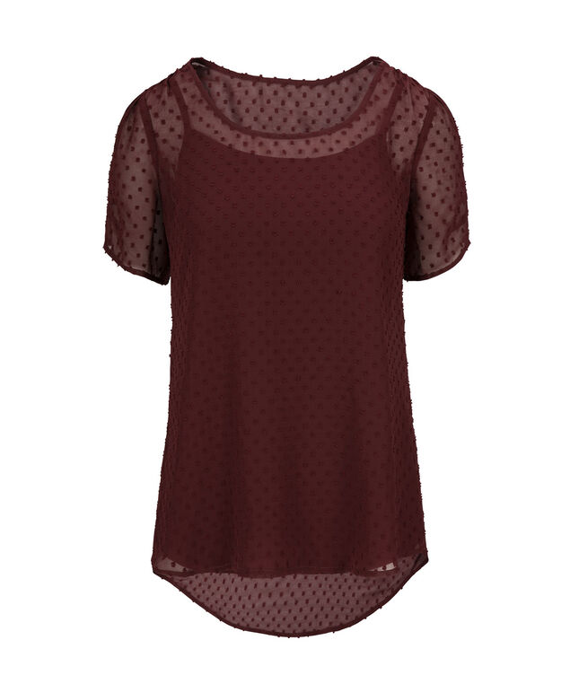 Swiss Dot Layered Blouse, Burgundy, hi-res