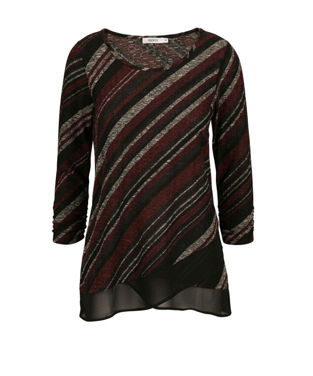 Chiffon Trim Top, Burgundy Print, hi-res