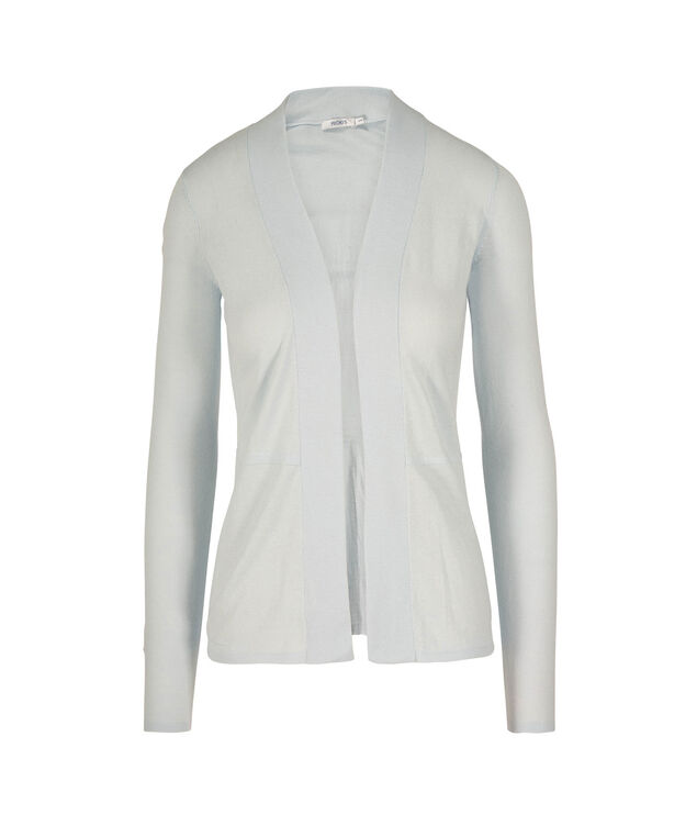 PLEATED BACK OPEN CARDIGAN, Frosted Blue, hi-res