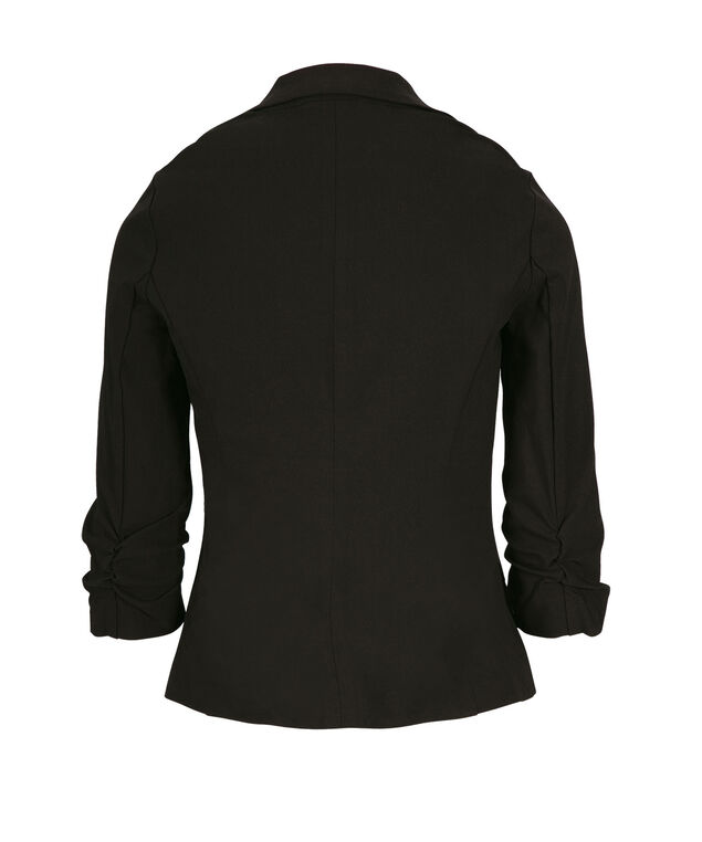 Ruched Sleeve Blazer, Black, hi-res