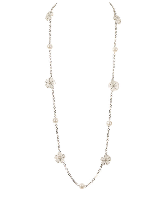 STATIONED FLOWER AND PEARL NECKLACE, White/ Rhodium, hi-res