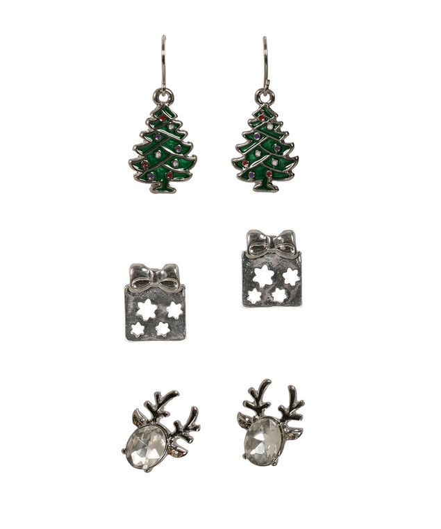 HOLIDAY TRIO EARRING SET, Green/Clear/Rhodium, hi-res