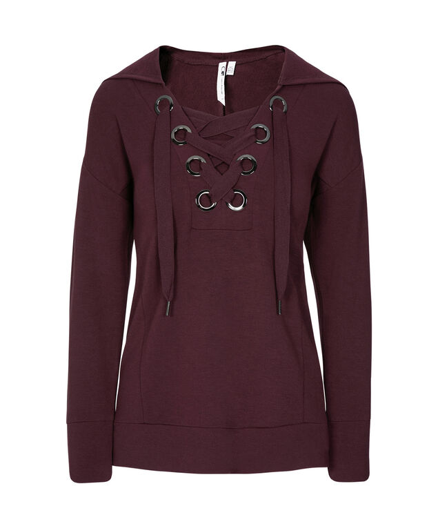 Lace-Up Front Hoodie, Burgundy, hi-res