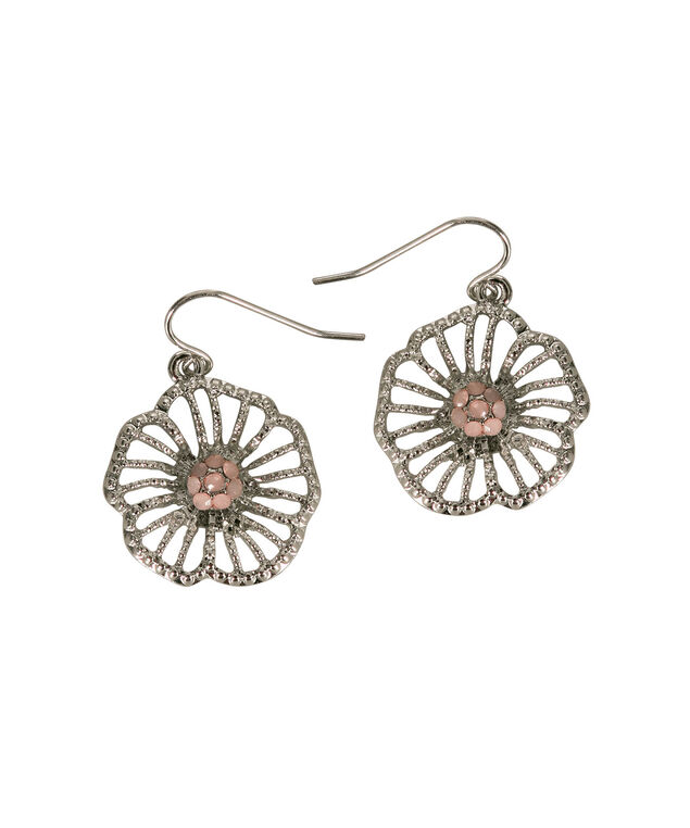 Floral Cut-Out Earring, Pink/Rhodium, hi-res