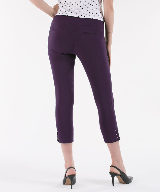 Microtwill Lace-Up Hem Crop, Deep Purple, hi-res