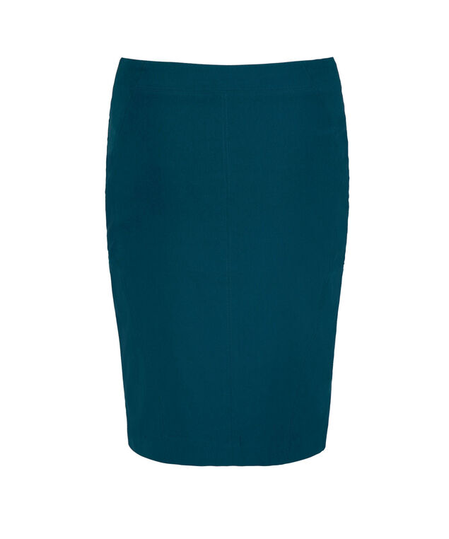Microtwill Pull On Pencil Skirt, Midnight Teal, hi-res