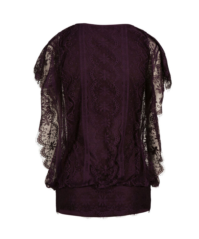 Dolman Sleeve Lace Top, Blackberry, hi-res
