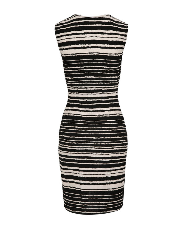 Crossover Striped Tulip Hem Dress, White/Black, hi-res